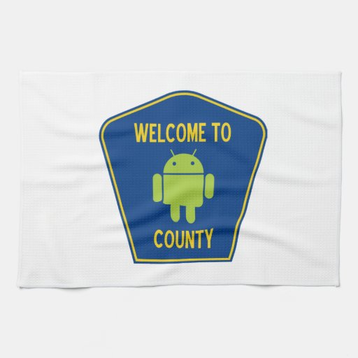 Welcome To Android (Bugdroid) County Sign Kitchen Towels