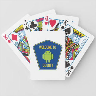 Welcome To Android (Bugdroid) County Sign Playing Cards