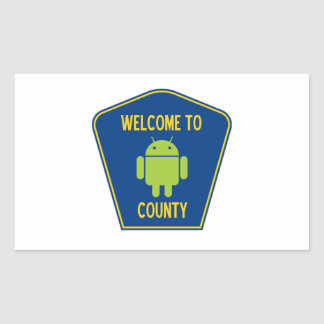 Welcome To Android (Bugdroid) County Sign Rectangular Sticker