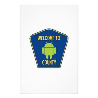 Welcome To Android (Bugdroid) County Sign Custom Stationery
