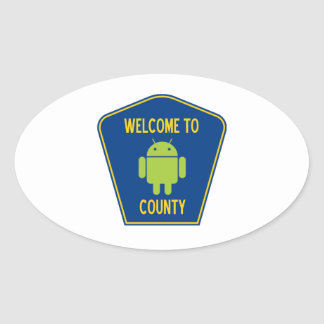 Welcome To Android (Bugdroid) County Sign Oval Sticker