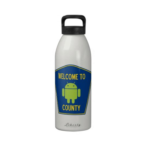 Welcome To Android (Bugdroid) County Sign Water Bottle