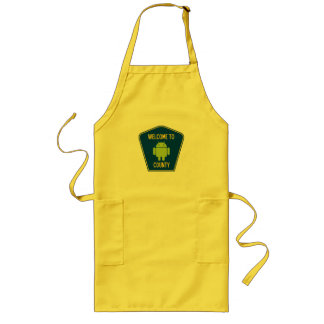 Welcome To Android County (Bug Droid Sign) Long Apron