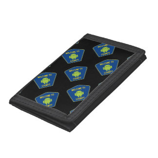 Welcome To Android County (Transportation Sign) Trifold Wallets