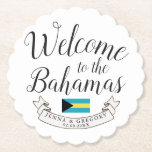 "Welcome to Bahamas | Destination Wedding Custom Paper Coaster<br><div class=""desc"">A celebratory gift item tailored to your wedding guest traveling to see you in the beautiful country of Bahamas.  All elements of this item are unlocked and adjustable to suit your needs. Have fun making it your own.</div>"