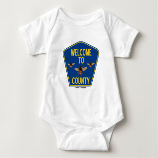Welcome To Bees County (Three Bees Sign) Baby Bodysuit