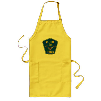 Welcome To Bees County (Three Bees Sign) Long Apron