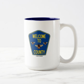 Welcome To Bees County (Three Bees Sign) Two-Tone Coffee Mug