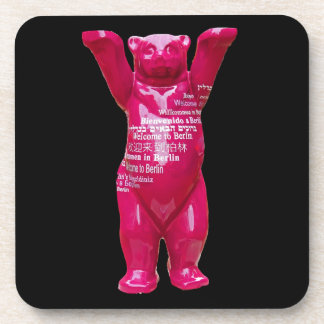 Welcome to Berlin Teddy Bear, Black Back Beverage Coaster