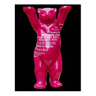Welcome to Berlin Teddy Bear, Black Back Postcard