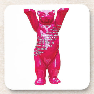 Welcome to Berlin Teddy Bear, White Back Beverage Coasters