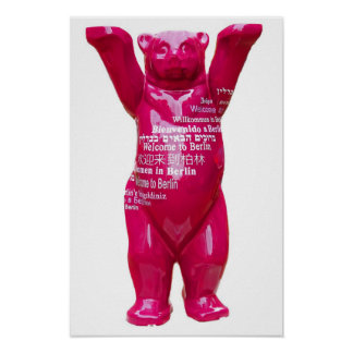 Welcome to Berlin Teddy Bear, White Back Poster