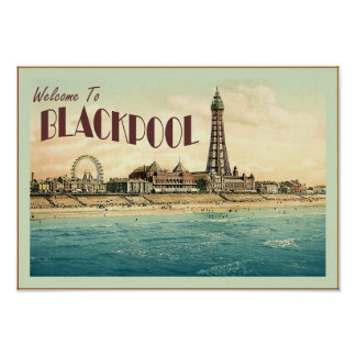 Welcome To Blackpool  ~ Vintage Travel Poster