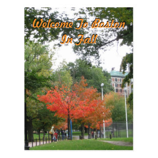 Welcome To Boston In Fall Postcard