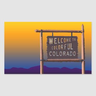 welcome to colorful colorado rectangular sticker