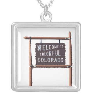 welcome to colorful colorado square pendant necklace