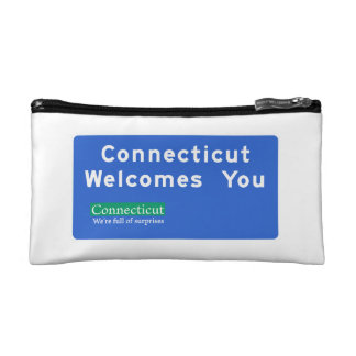 Welcome to Connecticut - USA Road Sign Cosmetic Bag