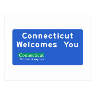 Welcome to Connecticut - USA Road Sign Postcard