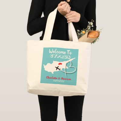 Welcome To Cyprus Destination Wedding Large Tote Bag