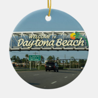 Welcome to Daytona Beach Double-Sided Ceramic Round Christmas Ornament