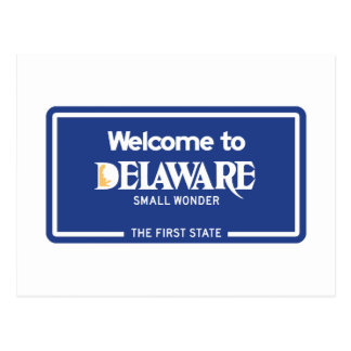 Welcome to Delaware - USA Road Sign Postcard