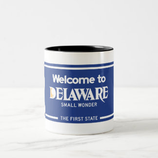Welcome to Delaware - USA Road Sign Two-Tone Coffee Mug