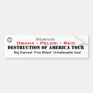 Welcome to Destruction of America Tour Bumper Sticker
