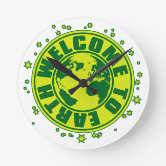 WELCOME_TO_EARTH ROUND WALL CLOCK