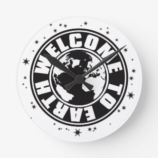 WELCOME_TO_EARTH ROUND WALL CLOCKS