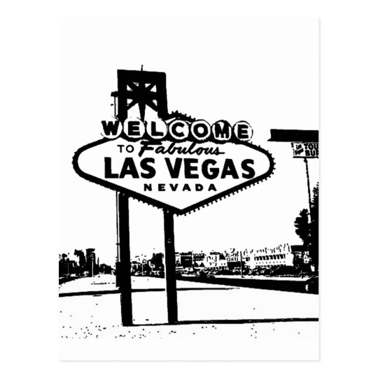 Welcome To Fabulous Las Vegas Bw Vector Graphic Postcard Zazzlecom