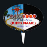 """Welcome to Fabulous Your Birthday Party! Cake Topper<br><div class=""""desc"""">Vintage style melded day/night shots of famous welcome to Vegas sign can now be all about your fabulous birthday party!</div>"""