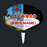 "Welcome to Fabulous Your Birthday Party! Cake Topper<br><div class=""desc"">Vintage style melded day/night shots of famous welcome to Vegas sign can now be all about your fabulous birthday party!</div>"