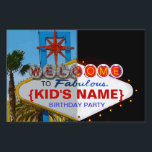 "Welcome to Fabulous Your Birthday Party! Sign<br><div class=""desc"">Vintage style melded day/night shots of famous welcome to Vegas sign can now be all about your fabulous birthday party!</div>"