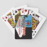 "Welcome to Fabulous Your Town! Playing Cards<br><div class=""desc"">Vintage style melded day/night shots of famous welcome to Vegas sign can now be all about your fabulous town!</div>"