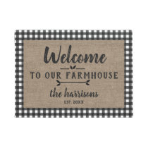 Welcome to Farmhouse Black Buffalo Check Custom Doormat