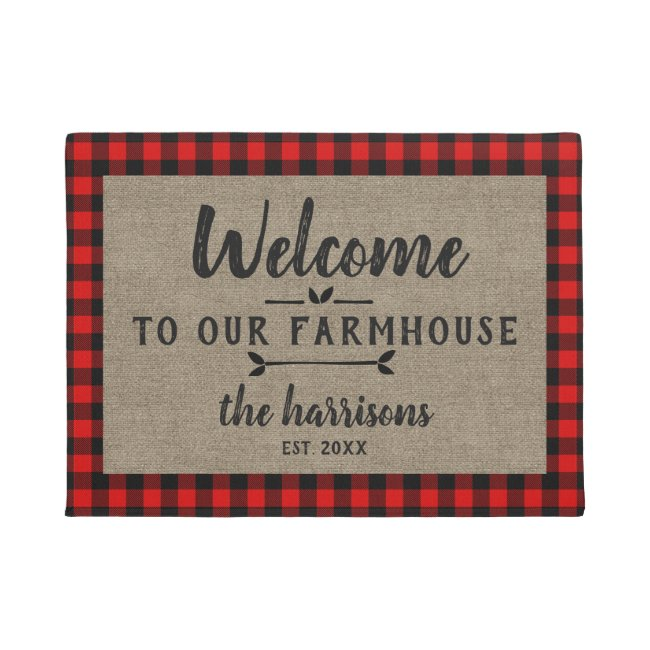 Welcome to Farmhouse Red  Buffalo Check Custom Doormat