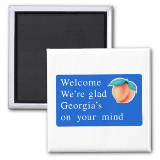 Welcome to Georgia - USA Road Sign 2 Inch Square Magnet
