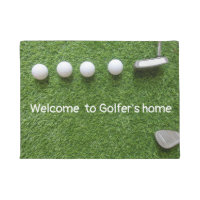 Welcome to golfer's home with golf balls & putter doormat