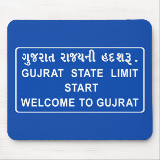 Welcome To Gujarat, Road Sign, India Mousepads