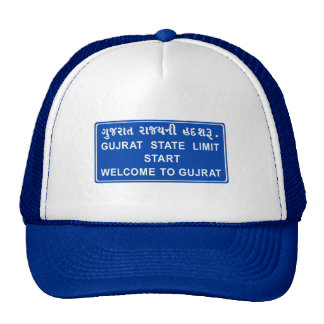 Welcome To Gujarat, Road Sign, India Trucker Hat
