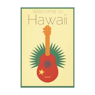Welcome To Hawaii Ukulele Retro Canvas Print