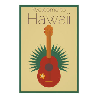 Welcome To Hawaii Ukulele Retro Poster
