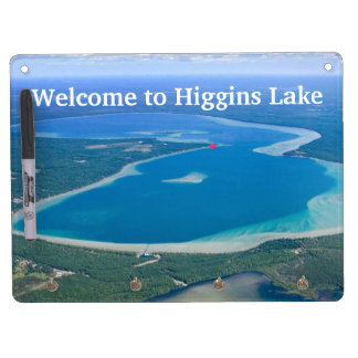 Welcome To Higgins Lake Dry Erase Board With Keychain Holder
