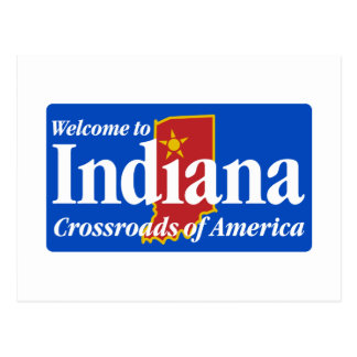 Welcome to Indiana - USA Road Sign Postcard