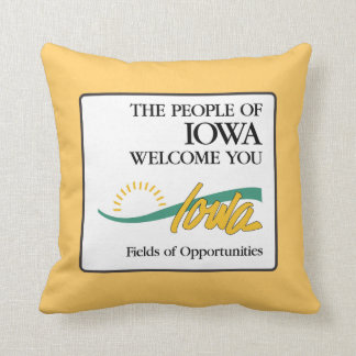 Welcome to Iowa - USA Road Sign Throw Pillow