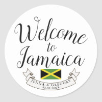 Welcome to Jamaica | Destination Wedding Custom Classic Round Sticker