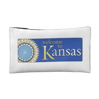 Welcome to Kansas - USA Road Sign Cosmetic Bag