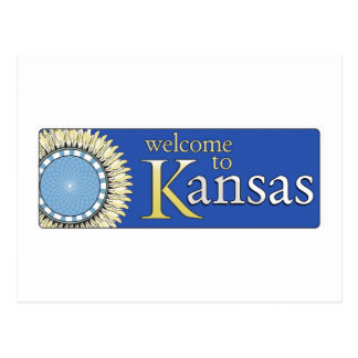 Welcome to Kansas - USA Road Sign Postcard