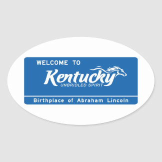 Welcome to Kentucky - USA Road Sign Oval Sticker