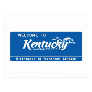 Welcome to Kentucky - USA Road Sign Postcard